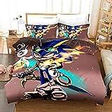 SSIN-Sonic Anime - Juego de cama infantil con funda de edredón y funda de almohada, microfibra 3D Digital Print 3 piezas, 07, 220x240cm