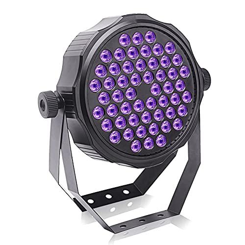 UKing Foco LED de luz negra, 54 ledes x 2 W, iluminación UV con mando a distancia DMX512, efectos de luz, luz para fiestas, bares, DJ, discotecas, carnaval, buehnenbeleuchtung