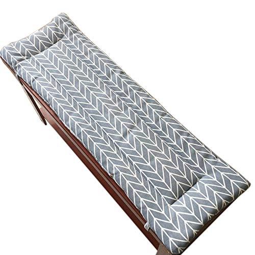 LINGRUI Cojín largo de banco con lazos de fijación, columpio 2 o 3 plazas cojín de repuesto para colchón de viaje interior y exterior, 2 cm de grosor, lavable gris-120 x 35 cm