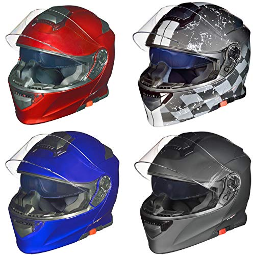 RS-982 Klapphelm Motorradhelm Conzept Motorrad Modular Roller Helm rueger, Größe:S (55-56), Farbe:Rot