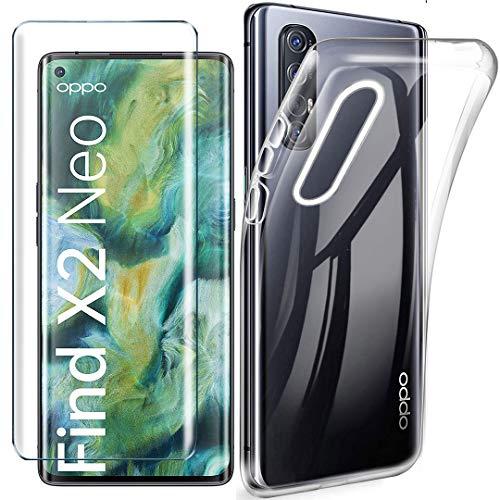 HYMY Hülle für Oppo Find X2 Neo + 1 x Schutzfolie Panzerglas - Transparent Schutzhülle TPU Handytasche Tasche Durchsichtig Klar Silikon Hülle für Oppo Find X2 Neo (6.5