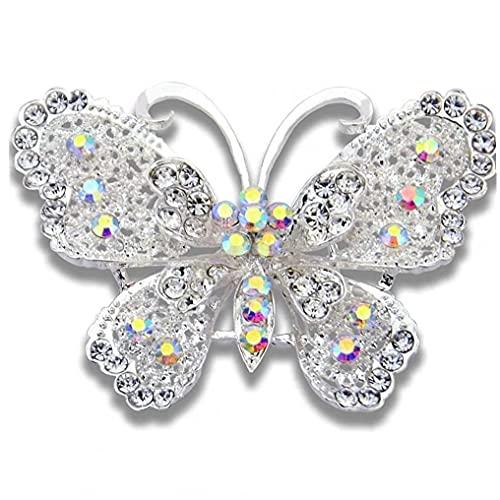 Ruluti 1pc Elegante Schmetterlings-kristall -brosche Kragen Pin Wedding Bouquet Damen Schmuck