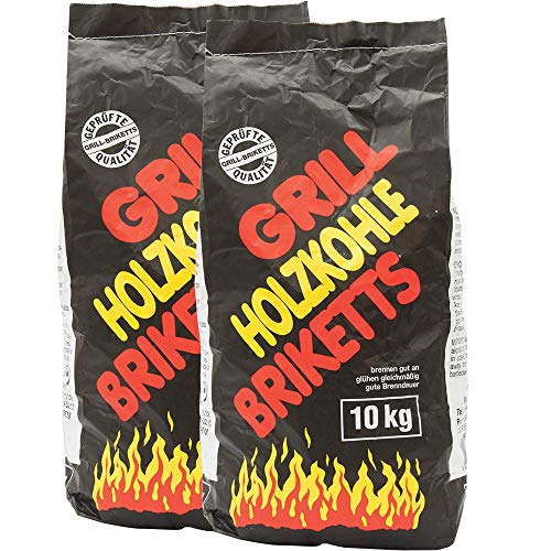 Jawoll Holzkohle-Grill-Briketts 20 kg (2 x 10 kg) Kamin Ofen BBQ Grillkohle