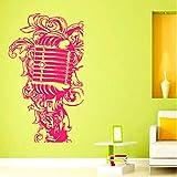 Micrófono de música en un Estilo Floral Diseño de Interiores Decoración para el hogar Vinilo de Pared Murales de Arte Guardería Habitación de bebé Etiqueta de la Pared Etiqueta 105Cmx58Cm