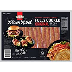 Perfect for Breakfast, Sandwiches, Burgers, Salad, Soup .Heat in the Microwave or on the Stovetop- Enjoy! 144 Slices (approximately) of Natural Hardwood Smoke Fully Cooked Original Bacon - Equal to 8 Pounds of Raw Bacon Shelf Stable - No Refrigeratio...