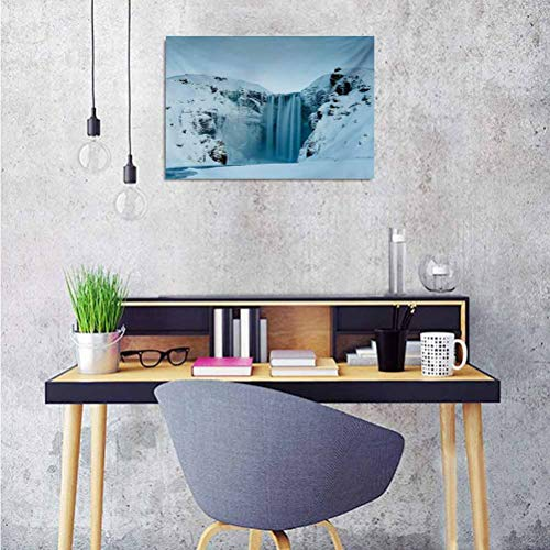 ParadiseDecor Waterfall Custom Poster Frozen Waterfall Heavenly Landscape View with Mountains Covered with Snow Art Wall Stickers Home Decoration 36x32 Inch