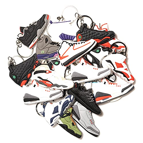 4Hrse -Retro Shoe Rubber Sneaker Keychains Party Favors Fun Gifts (Random Packs)