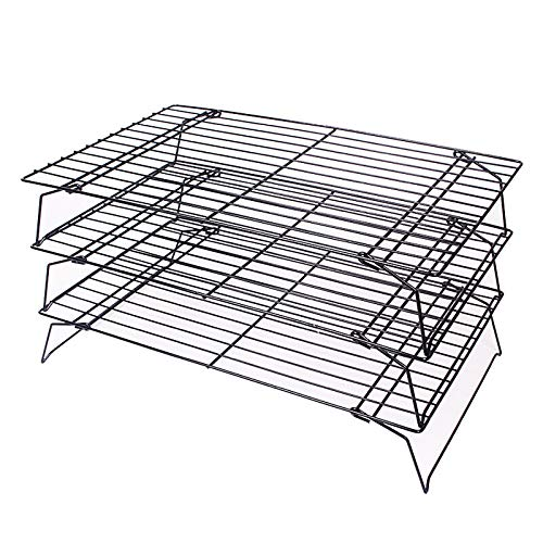 3-Tier Cooling Rack, Stackable Non-Stick Cross Grid Cookie Cooling Rack Baking Supplies for Cookies Bread Cake Biscuits and More (3 Tier)