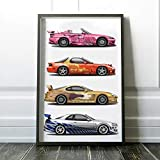 2 Fast and 2 Furious BrianO.ConnerNis.sanSkylineG.T.R, Suki's.Honda.S2000, SlapJack's.To.yo.taSupra and Orange.Julius.MazdaRX-7 Poster Wall Art Decor, Gym, Home Living, kids, gift, basement, Office