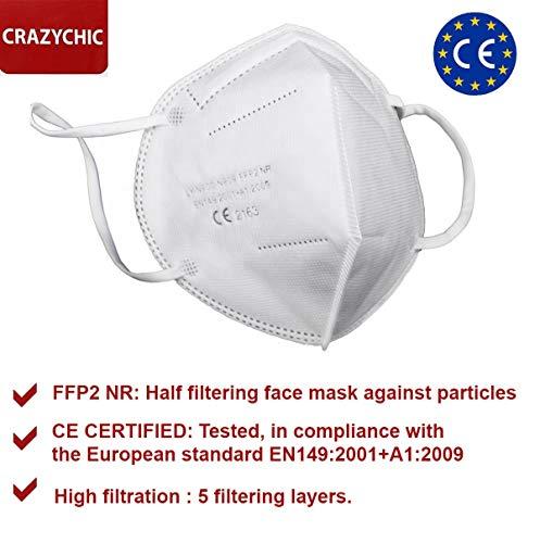 CRAZYCHIC – Atemschutzmaske FFP2 – CE Zertifiziert EN 149 Schutzmaske – Mundschutzmaske – Staubschutzmaske – Hohe Filtration Maske 20 Stück - 2