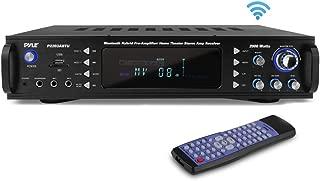 Pyle 4-Channel Bluetooth Home Power Amplifier - 2000 Watt Audio Stereo Receiver w/ Speaker Selector, AM FM Radio, USB/ SD Card Reader, Karaoke Microphone Input - Home Entertainment System