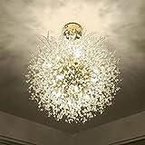 Lustre 9 Lumières doré Pendentif Luxueux Moderne Hauteur Réglable Pissenlit Suspendus Lampes en Cristal Lampe Suspendue pour Table à Manger de Chambre à Coucher-d'or_9 têtes