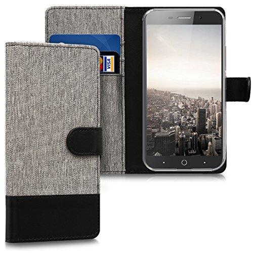 kwmobile Hülle kompatibel mit ZTE Blade A602 - Kunstleder Wallet Case mit Kartenfächern Stand in Grau Schwarz