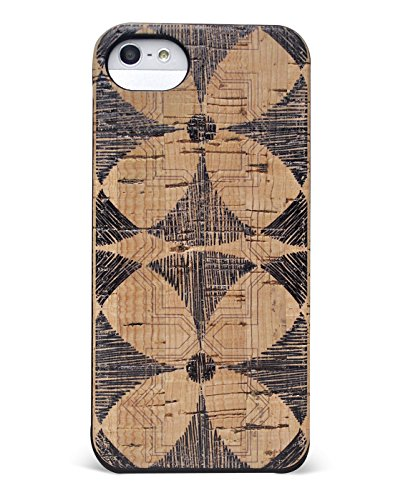 Wood Case Compatible with iPhone SE | 5 | 5s - Eco-Friendly Cork Wood Fashion Case - Natural Wooden Design with Stylish Flower Printed Overlay (Flower)