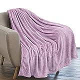 PAVILIA Luxury Flannel Fleece Blanket Throw Lavender Purple | Soft Decorative Jacquard Weave Microfiber Throw for Bed Sofa Couch | Velvet Textured Leaves Pattern | Lightweight Plush Cozy | 50'x60'