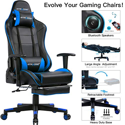 GTRACING Gaming Chair with Bluetooth Speakers and Footrest Music Video Game Chair Audio Heavy Duty Computer Desk Chair GT909M Blue chair gaming