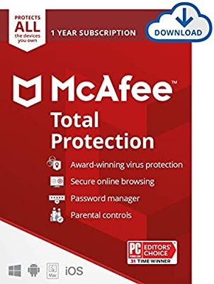 McAfee Total Protection 2021 Unlimited Devices, Antivirus Internet Security Software Password Manager, Parental Control, Privacy, 1 Year - Download Code from McAfee
