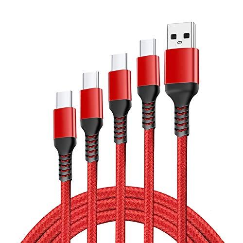 GAOAG Cavo USB C, 4 Pezzi [0.25M+1M+2M+3M] Cavo USB Tipo C Nylon Intrecciato per Xiaomi Redmi Note 8T 7 8 PRO 9S,Mi Note 10/9 SE 9T Lite,Samsung A11 S10 S9 Plus S10E A40 A50 A20E (Rosso(4 Pezzi))