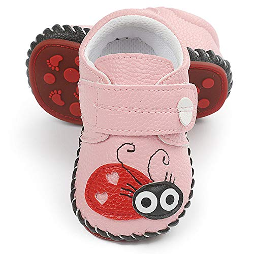 LAFEGEN Baby Boys Girls Walking Shoes Hard Bottom Non Slip PU Leather Outdoor Sneaker Infant Carton Slipper Toddler First Walker Crib Shoes(3-18 Months) 01 Pink, 6-12 Months Infant