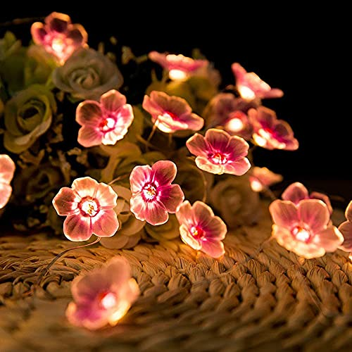 SMLJFO 2 luces de cadena de batería para exteriores, luces de hadas de flores de 6,5 pies, 20 luces LED de cerezo rosa, funciona con pilas para jardín, boda, dormitorio, color rosa