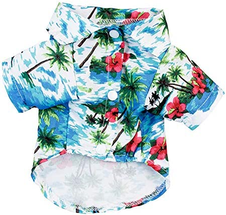 Hawaiian Costume Pet Dog Polo T Shirts Clothes Funny Cute for Small to Medium Puppy Cats Cool product image