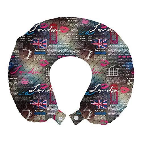 ABAKUHAUS Londen Reiskussen, Grunge Collage van de Krant, Reisaccessoire met Geheugenschuim voor Vliegtuig en Auto, 30 cm x 30 cm, Veelkleurig