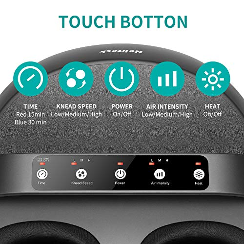 Nekteck Foot Massager Machine with Heat, Shiatsu Foot Massager with Handle Design, 6 Mode with Kneading Rolling, Air Compression and Built-in Heat Function,Relax for Home or Office Use,Fit to Size 12