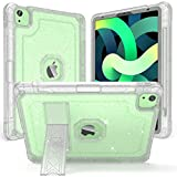 ZoneFoker iPad Air 4 case,iPad Air 4th Generation Case, iPad 10.9 inch Case 2020 with Pencil Holder,Clear Heavy Duty Shockproof Protective iPad Cover for Girls Women with Stand (Clear Glitter)