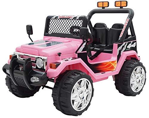 Coche estilo Jeep 4x 4, de 2plazas, Eléctrico/con pilas, 12V, para niños, rosa (Producto con enchufe de UK)