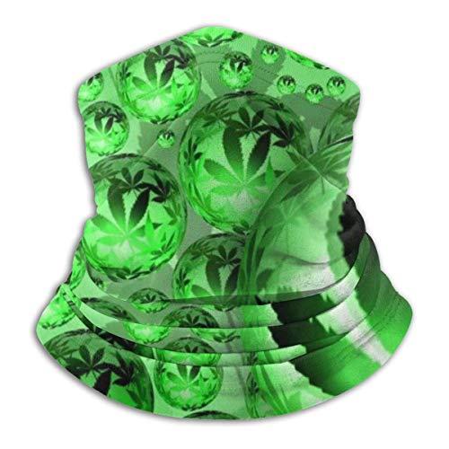 WlQshop Calentadores de Cuello Beauty Green Psychedelic Marijuana Weed Leaf Cubrecabezas Trapping Sun-Proof SciarpeSoft Elastic Balaclava Half Mask Windproof Ski Sciarpe Cover for Winter Skiing Run