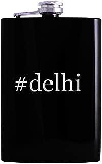 #delhi - 8oz Hashtag Hip Alcohol Drinking Flask, Black