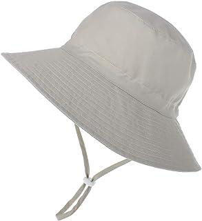 LACOFIA Chapeau de Soleil Bob Réglable pour Bébé Bonnet d'été pour Enfant Bord Large pour Piscine/Plage/Natation/Extérieure