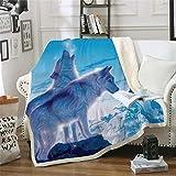 Blauer Tier-Eisbär 3D-Druck Sherpa Decke Kuscheldecke Flanell Mikrofaser Gedruckte Decke Fleecedecke Wohndecke Tagesdecke Sofadecke zweiseitige Decke Sofa und Bett 135x150cm