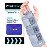 Carpal Tunnel Wrist Brace | Night Sleep Support Brace, Removable Metal Wrist Splint- Hot/Ice Pack, Right Hand, Small/Medium, Adjustable Hand Brace for Men, Women, Relieve and Treat Wrist Pain