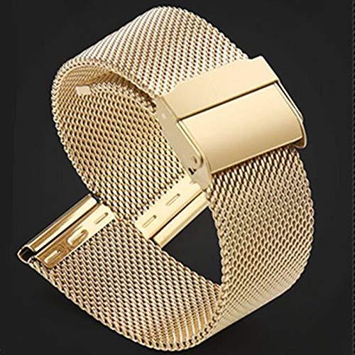 MTUP 12/14/16/18/20/22 mm correa de reloj de pulsera de acero inoxidable de malla de metal para mujer y hombre, correa de reloj de moda (color de la correa: oro, ancho de la correa: 20 mm)