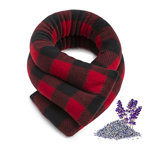 Sunny Bay Neck Heating Wrap, Heat Therapy Pad for Neck & Shoulder Muscle Pain Relief-Thermal, Reusable, Non Electric, Buffalo Plaid Red, Extra Long, Lavender-Scented