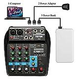 Fesjoy Sound-Mischpult TU04 BT Sound Mixing Console Rekord 48 V Phantomspulenmonitor AUX-Pfade plus Effekte 4-Kanal-Audiomischer mit USB