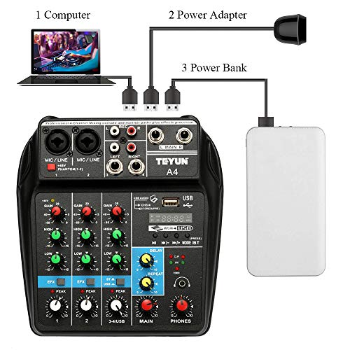 Fesjoy Console di mixaggio audio USB TU04 BT Sound Mixing Console Record 48V Phantom Power Monitor AUX Paths Plus Effects Mixer audio a 4 canali con USB