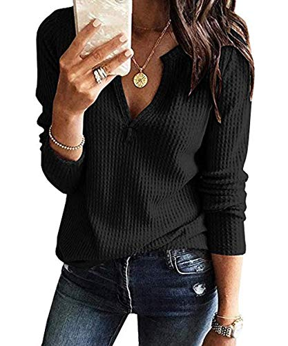 VYNCS Womens Long Sleeve Waffle Tops Casual V Neck Loose Henley Shirts Tunic (Black, Small)