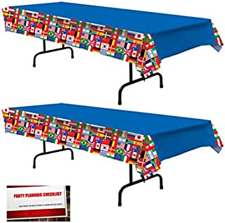 2 Pack International World Flags Plastic Table Cover 54 inches x 108 inches (Plus Party Planning Checklist by Mikes Super Store)