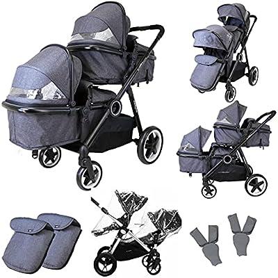 Isafe Baby Tandem - Sistema de viaje para cochecito de bebé con asiento convertible y capazo + funda de lluvia gris/guijarro