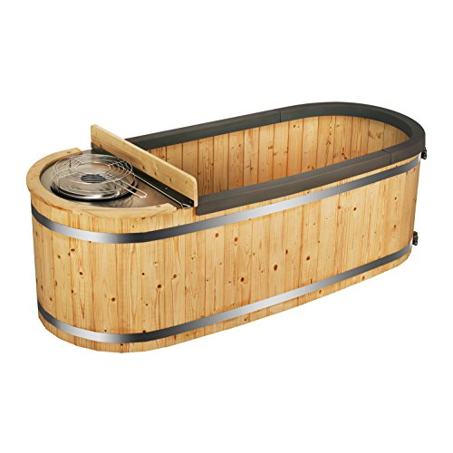 ALEKO HT2PIN 2-Person Natural Pine Hot Tub with Charcoal Stove Boiler - Natural Pine - 500 Liters