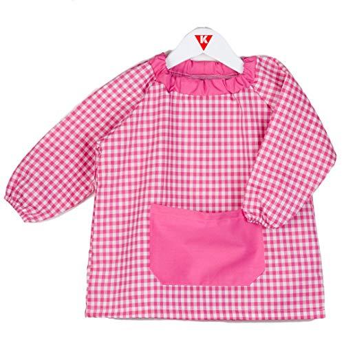 KLOTTZ - Babi Poncho sin Botones guardería. Bata Escolar cómoda de Vestir comedores y colegios. Niñas Color: Fucsia Talla: 2