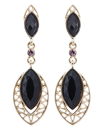 Ohrclips - vergoldet Ohrring mit schwarzen ovalen Steinen - Velma von Bello London
