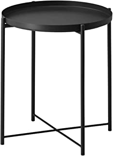 """Side Table Tray Metal End Table Round Foldable Accent Coffee Table for Living Room Bedroom(17.3""""×20.5"""") (L,Black)"""
