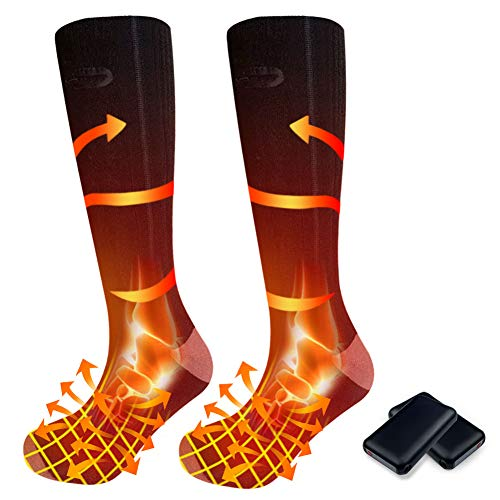 pocova Heated Socks for Men Women Rechargeable Washable, 2021 Upgraded Electric Winter Thermal Socks...