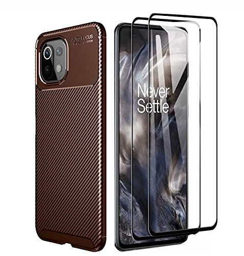 GOKEN Hülle für Xiaomi Mi 11 Lite 5G | Mi 11 Lite + 2 Panzerglas, Schutzhülle TPU Silikon Handyhülle mit Stylisch Karbon Design, Stoßfest Bumper Hülle Soft Flex Cover, Braun