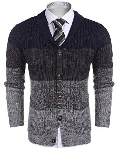 COOFANDY Strickjacke Cardian Knitwear Sweater mit Taschen/Knopfleise Herren Langarm Schalkragen Slim Fit Pullover Jacke Mantel Button-down Warm Winterjacke