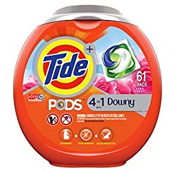Tide PODS Plus Downy 4 in 1 HE Turbo Laundry Detergent Pacs, April Fresh Scent, 61 Count Tub - Packa