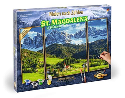 Schipper 609260760 Malen nach Zahlen, St. Magdalena in Südtirol - Bilder malen für Erwachsene, inklusive Pinsel und Acrylfarben, Triptychon, 50 x 80 cm